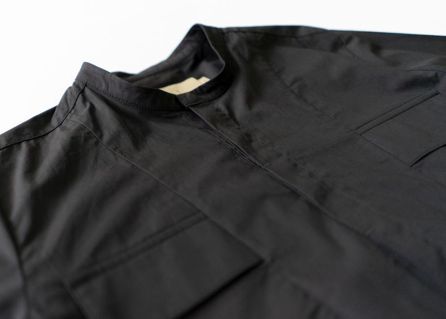Stand Collar Pocket Shirt - Black