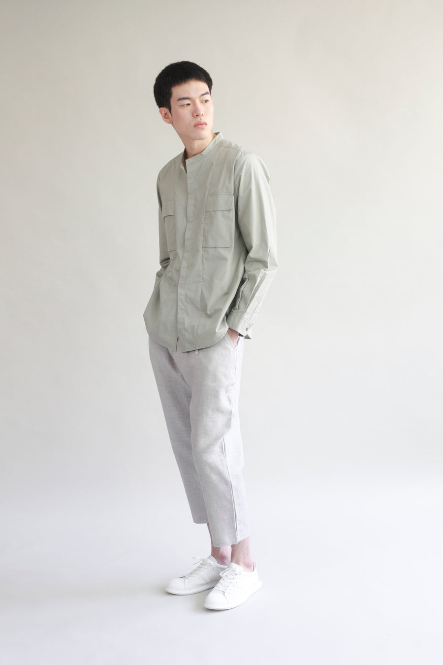 Stand Collar Pocket Shirt - Sage Green