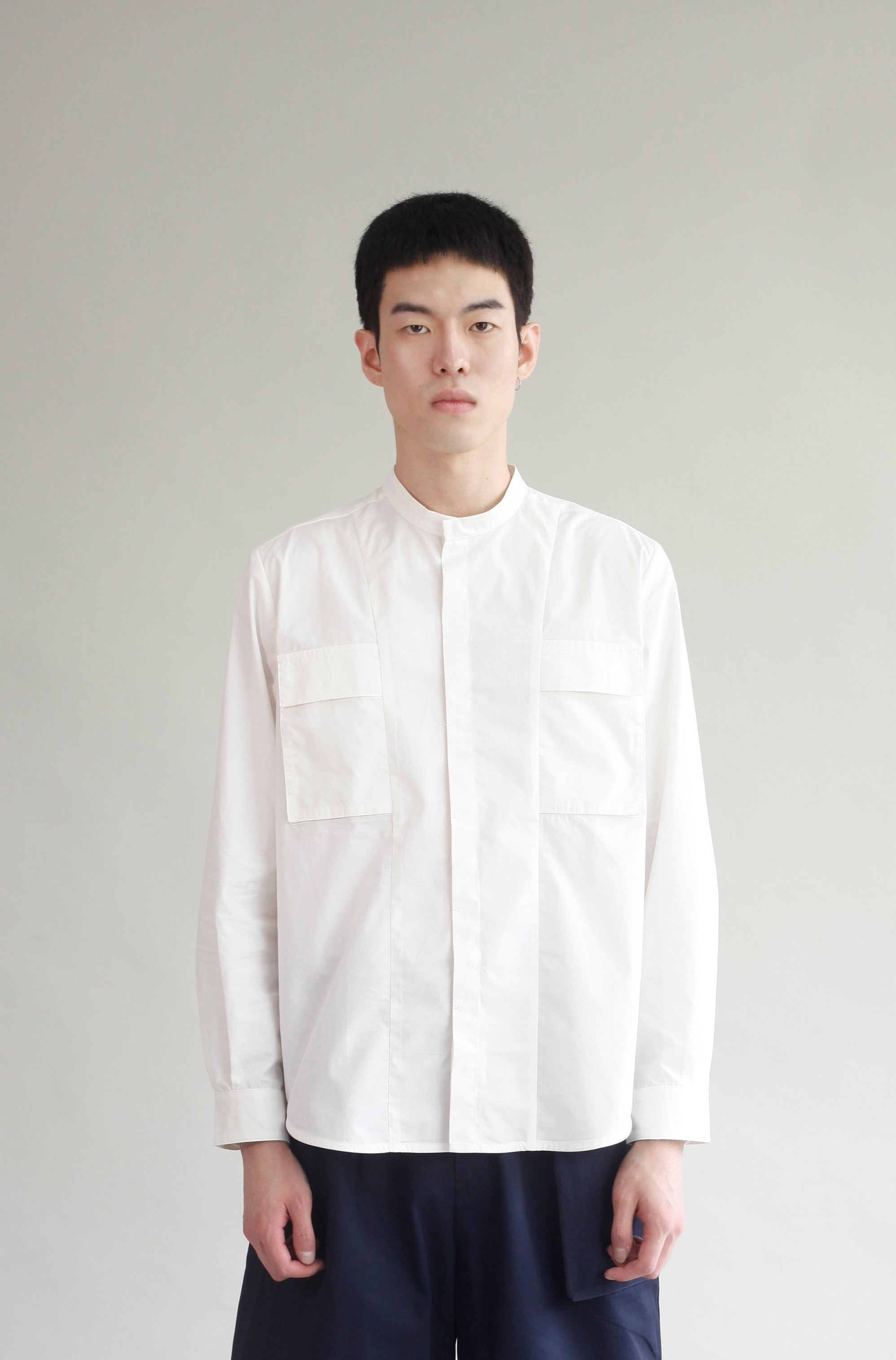 Stand Collar Pocket Shirt - Off-white
