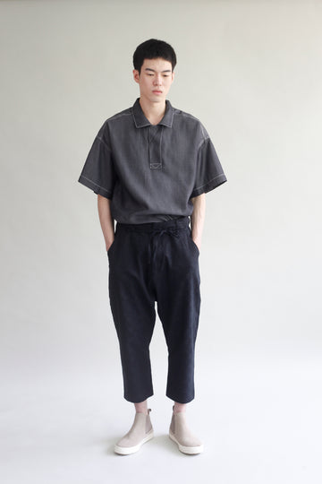 Checked Linen Trouser - Black