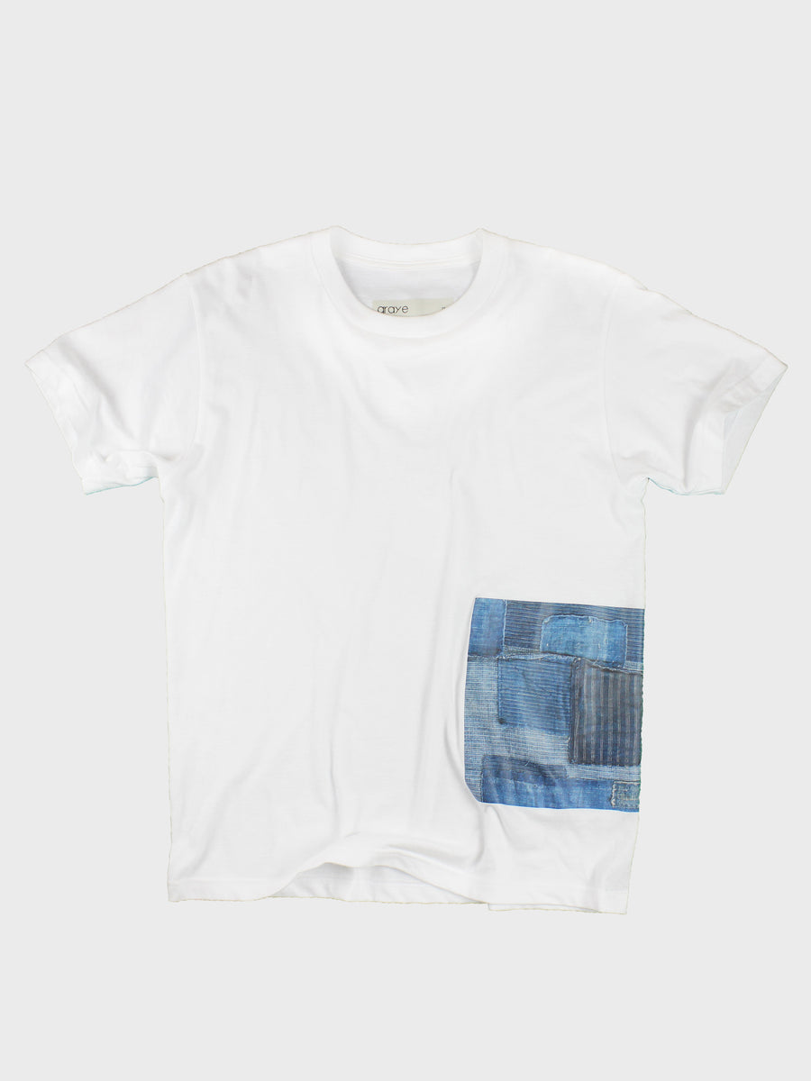 GRAYE | White BoroBoro Cotton T-Shirt