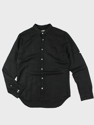 GRAYE | Black Convertible Collar Linen Shirt