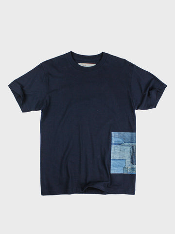 GRAYE | Navy Blue BoroBoro Cotton T-Shirt