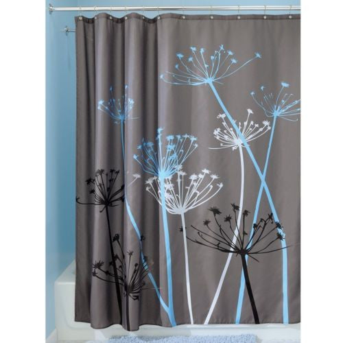 InterDesign Thistle Shower Curtain, 72 x 72-Inch, Gray/Blue