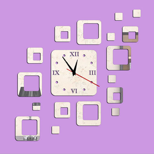 Silver Squares Luxury Wall Art DIY Clock Mirror Stickers for Home Decoration