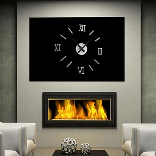 Acrylic Roman Numerals Wall Clock Adhesive Decal Sticker Art DIY Home Decor