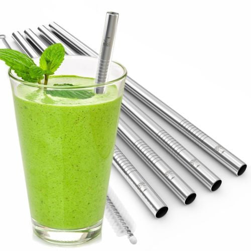 5pk Reusable Stainless Steel Metal Drinking Straws and Cleaning Brush