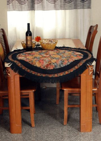 TacheTapestry Country Rustic Floral Midnight Awakening 17 Inch Round Tablecloths