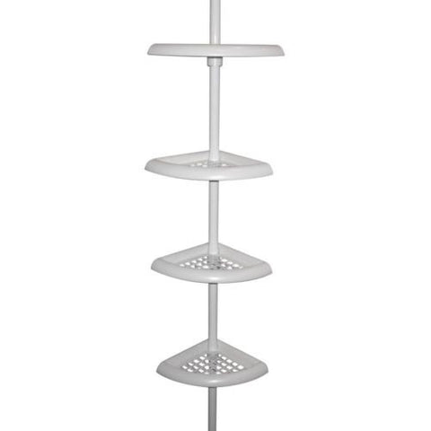 Zenna Home 2104W, Bathtub and Shower Tension Corner Caddy, White