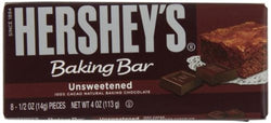 Hershey's Baking Bar, Unsweetened Chocolate, 4-Ounce Bars (Pack of 6)