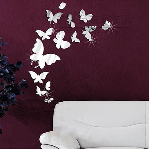 Fashion 14pcs Mirror Stlye Butterfly DIY Removable Decal Vinyl Art Wall Sticker