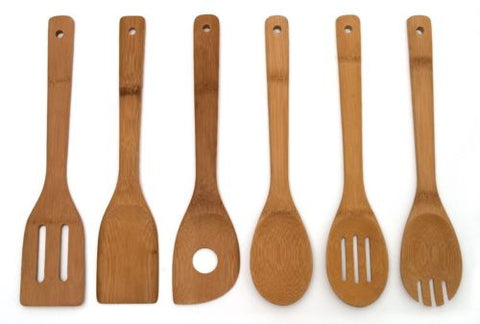 Lipper International 826 Set of 6 Bamboo Kitchen Tools, in Mesh Bag