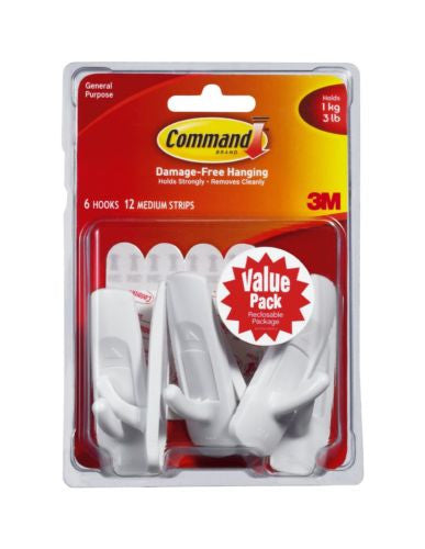 Command Medium Hooks, White, 6-Hook