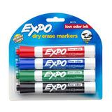 Expo 2 Low-Odor Dry Erase Markers, Chisel Tip, 4-Pack, Assorted Colors