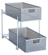 DecoBros Two Tier Mesh Sliding Cabinet Basket Organizer Drawer,Silver
