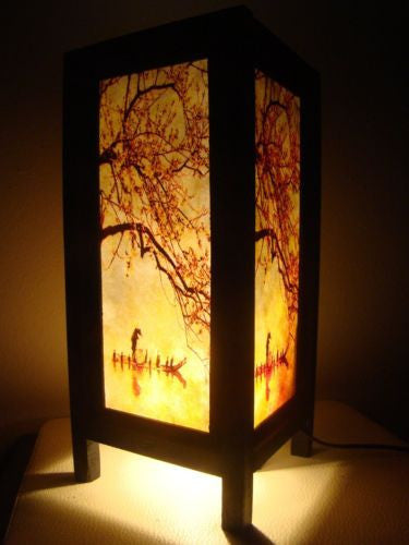 China Fisherman Red Sakura Cherry Blossom Tree Branch Bedside Table Lights