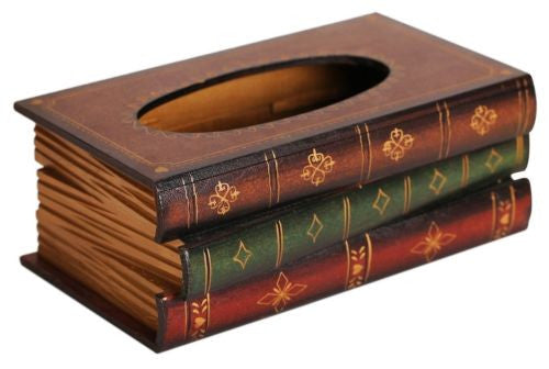 Outop Elegant Hand Crafted Wooden Scholar's Antique Book Tissue Box Dispenser
