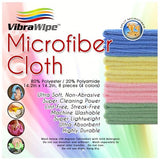 VibraWipe VWM-08 Microfiber Cleaning Cloths, 4 Colors - 8-Pieces