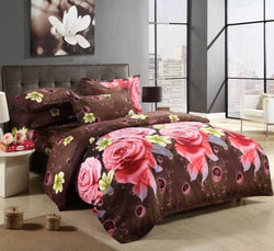 Europe Type 3D Printed Rose Flower Pattern 4 PCS Bedding