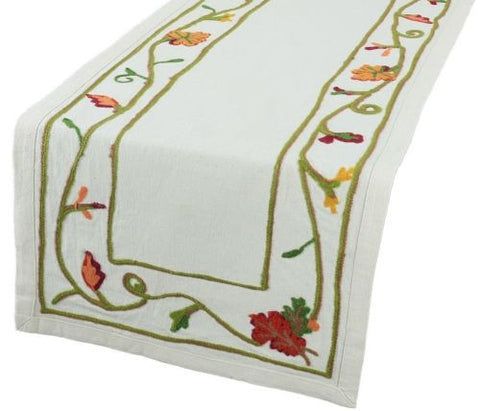 Xia Home Fashions Harvest Vine Crewel Embroidered Table Runner 16Inch By 36 Inch