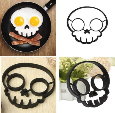 Spooky Halloween Owl & Skull Nonstick Silicone Egg Ring Maker Mold Shaper Combo