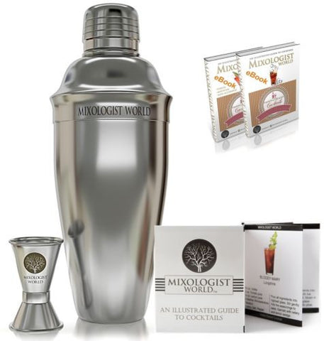 Premium SST Cocktail Shaker SET Bundle w/ Jigger and Recipes / Bartender Tool