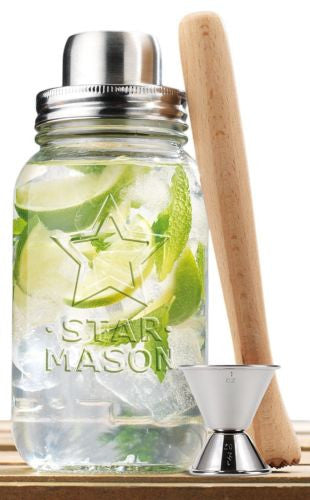 Clear Glass 30-oz Mason Jar and Stainless Steel Cocktail Shaker Set