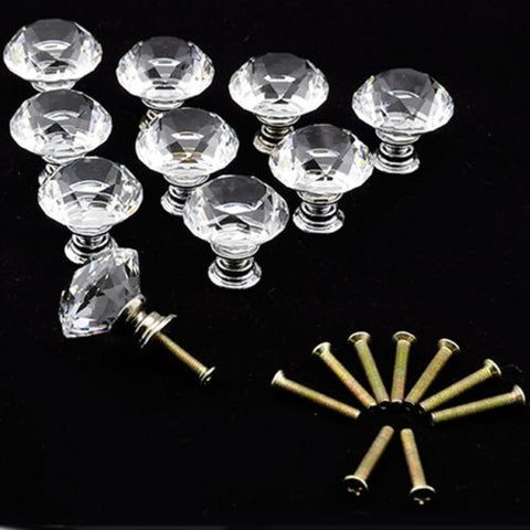 Outop 10 Pcs 30mm Diamond Shape Crystal Glass Cabinet Knob