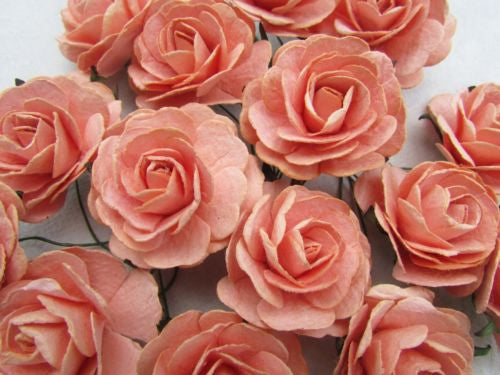 15 pcs Rose Orange color Mulberry Paper Flower 40mm scrapbooking supplies card