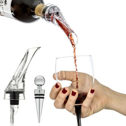 Red Wine Aerating Pourer Decanter Spout Set Bottle Stopper Bar Accessory