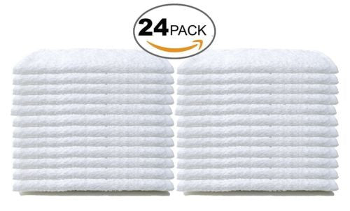 Bare Cotton Wash Cloth Towels Cotton, 12 x 12 Inch, White, 24 Pack