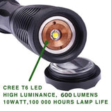 Refun Handheld Flashlight Led Cree XmlT6 Water Resistant CampingTorch Adjustable