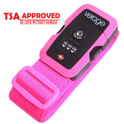 TSA Lock Adjustable Travel Luggage Strap Belt for Bag Suitcase Pink