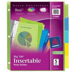 Avery Big Tab Insertable Plastic Dividers 5-Tabs 1 Set