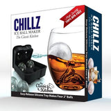 Chillz Ice Ball Maker Mold Black Flexible Silicone Ice Tray  Molds 4 X 4.5cm