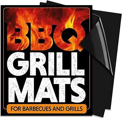 BBQ Grill Mats (2 Pack) Use on Gas, Charcoal, Electric, Camp, Drum, Barrel