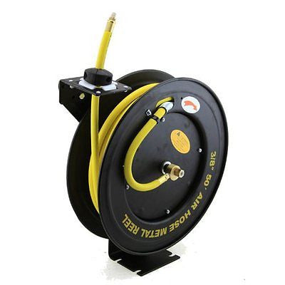 XtremepowerUS Auto-Rewind Retractable x 3/8-Inch Air Hose Reel Rubber Hose