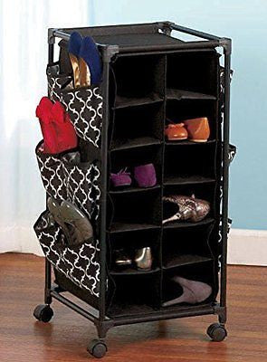 Womens Print Shoe Organizer with Wheels - Holds at least 24prs