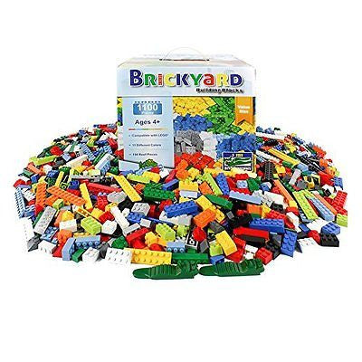 [1,100 Pieces] LEGO Compatible Building Brick Toys by Brickyard - Bulk Block Set