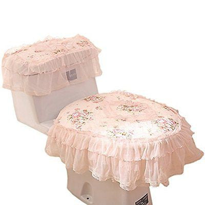 Honeykoko Practical 3-piece Tank Cover, Toilet Seat Cover Set Fabric lace