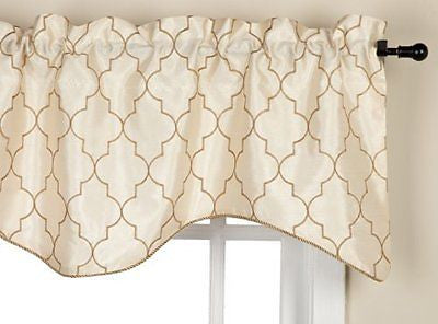 Stylemaster Hudson 52 by 17-Inch Embroidered Lined Valance with Cording
