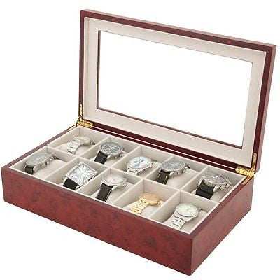 Watch Box for 10 Watches Burlwood Finish XL Extra Large Compartments Soft