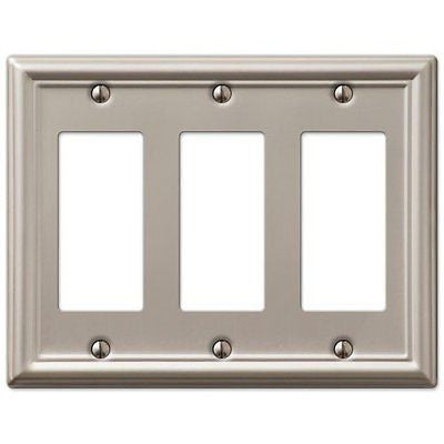 Decorative Wall Switch Outlet Cover Plates (Brushed Nickel, Triple Rocker)