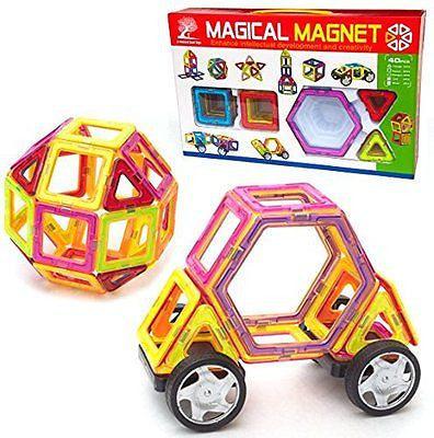 Magnetic Tiles, 40 Piece Set with Wheels, Educational Building Toys