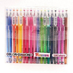 Gel Color Pen with Diamond Head, Reaeon Colored Ink Pens for Arts & Crafts