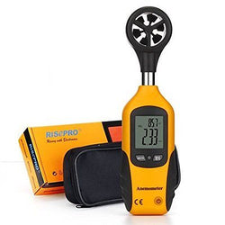Anemometer, RISEPRO? Digital Mini LCD Wind Speed Gauge Air Flow Speed Meter