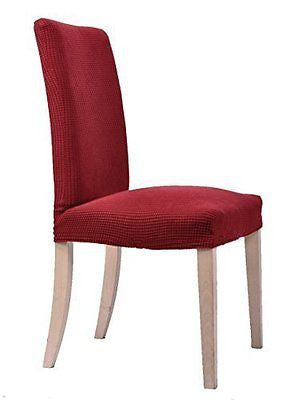 Small Checks Dining Chair Covers Solid Slipcovers(2Piece Wine)
