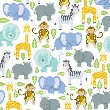 "Zoo Animals Gift Wrap Flat Sheet 24"" X 6'"