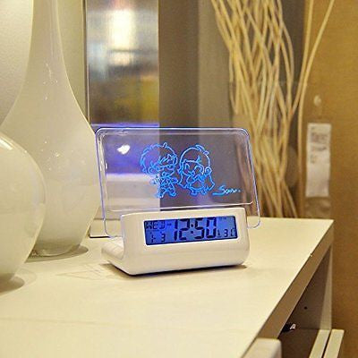 Alarm Clock with USB Port for Charging Phones Voice Control Broadcast Blue