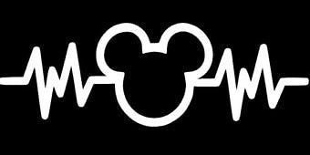 "Mickey Mouse Heartbeat 6"" White Car Truck Vinyl Decal Art Wall Sticker USA"